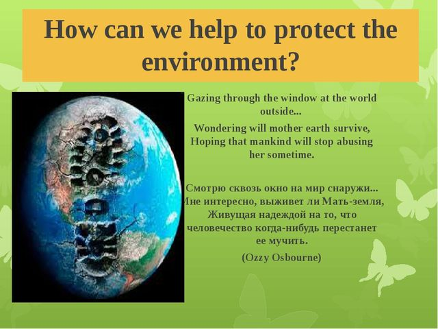 How can we help to protect the environment? Gazing through thewindow atthe...