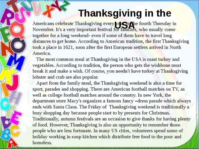 Thanksgiving in the USA Thanksgiving in the USA Americans celebrate Thanksgi...