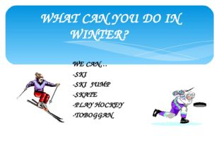 WHAT CAN YOU DO IN WINTER? WE CAN… -SKI -SKI JUMP -SKATE -PLAY HOCKEY -TOBOGGAN