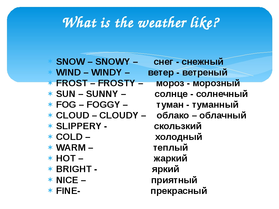 What is the weather like? SNOW – SNOWY – снег - снежный WIND – WINDY – ветер...