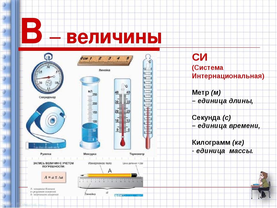 В – величины СИ (Система Интернациональная) Метр (м) – единица длины, Секунда...