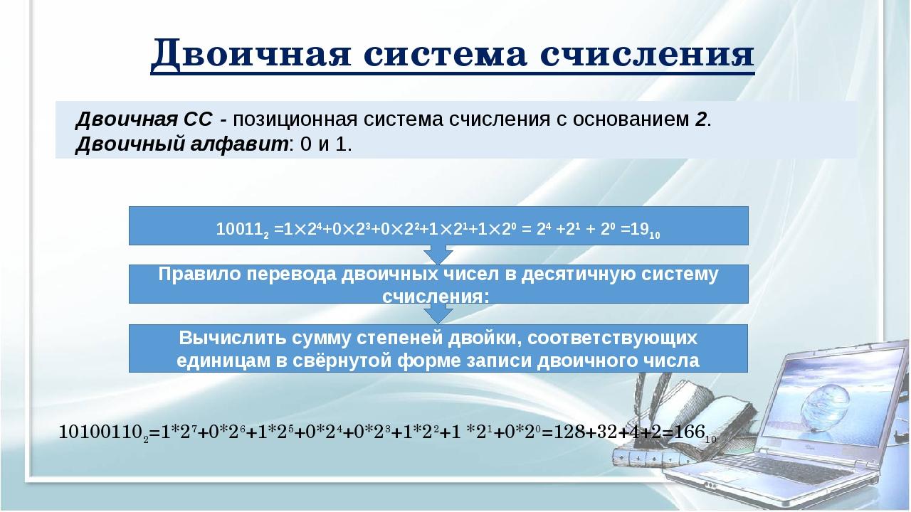 Двоичная система счисления Двоичная СС - позиционная система счисления с осно...