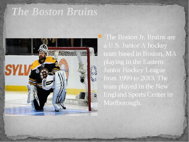 The Boston Bruins The Boston Jr. Bruins are a U.S. Junior A hockey team based...