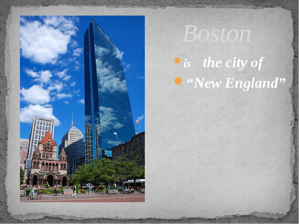 "is the city of ""New England"" Boston"