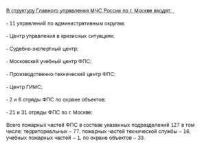 В структуру Главного управления МЧС России по г. Москве входят: - 11 управлен