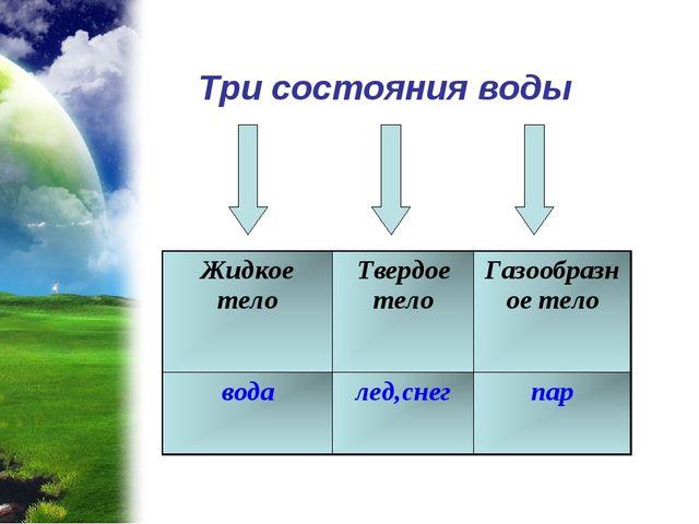 Три состояния воды Жидкое телоТвердое телоГазообразное тело водалед,снегпар