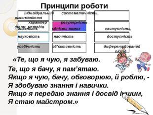 Принципи роботи індивідуальний систематичність, різноманіття характер регуляр