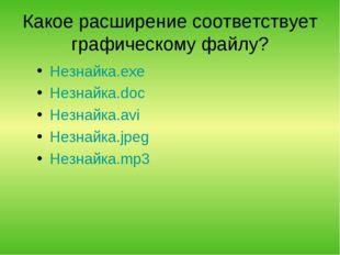 Какое расширение соответствует графическому файлу? Незнайка.exe Незнайка.doc