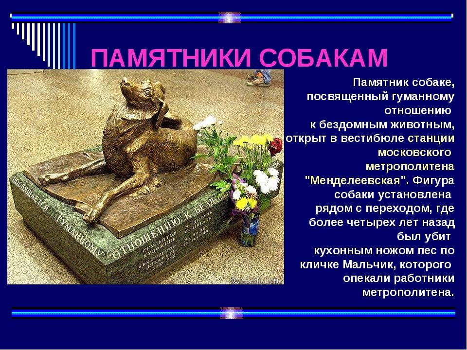 ПАМЯТНИКИ СОБАКАМ Памятник собаке, посвященный гуманному отношению к бездомны...