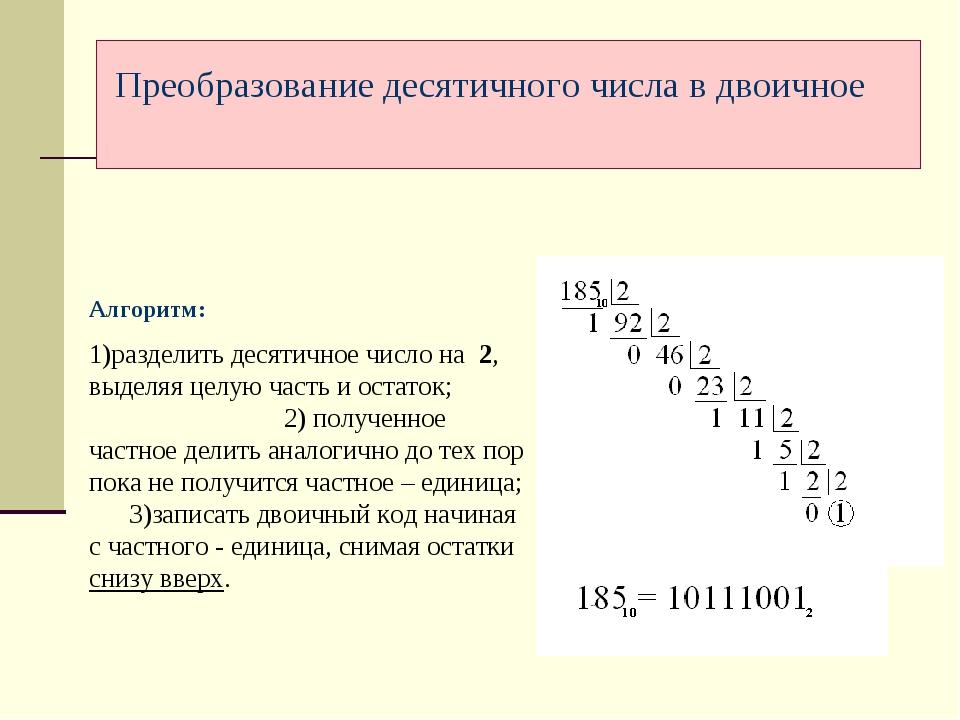 Алгоритм: 1)разделить десятичное число на 2, выделяя целую часть и остаток; 2...