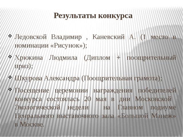Результаты конкурса Ледовской Владимир , Каневский А. (1 место в номинации «Р...