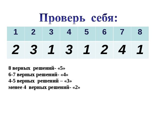 8 верных решений- «5» 6-7 верных решений- «4» 4-5 верных решений – «3» менее...