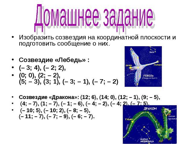Изобразить созвездия на координатной плоскости и подготовить сообщение о них....