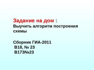 Задание на дом : Выучить алгоритм построения схемы Сборник ГИА-2011 В18, № 23