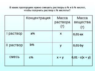 В каких пропорциях нужно смешать растворы а % и b % кислот, чтобы получить ра