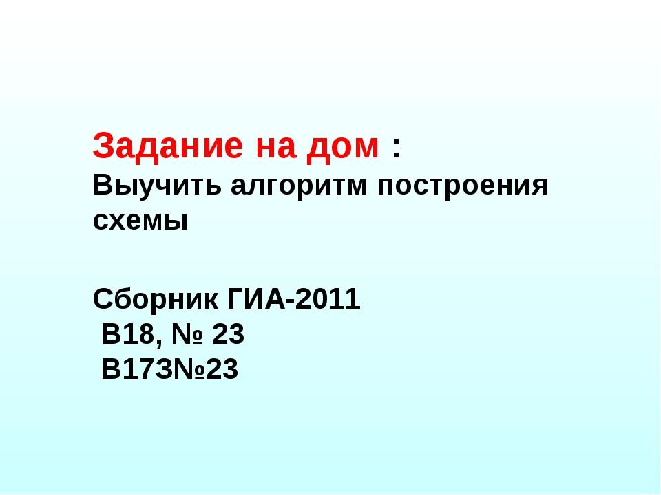 Задание на дом : Выучить алгоритм построения схемы Сборник ГИА-2011 В18, № 23...