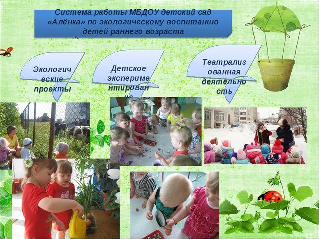 Экологические проекты Детское экспериментирование Театрализованная деятельность