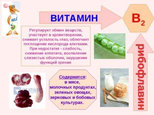 ВИТАМИН B2 Регулирует обмен веществ, участвует в кроветворении, снижает устал