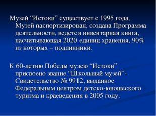 """Музей """"Истоки"""" существует с 1995 года. Музей паспортизирован, создана Програм"""