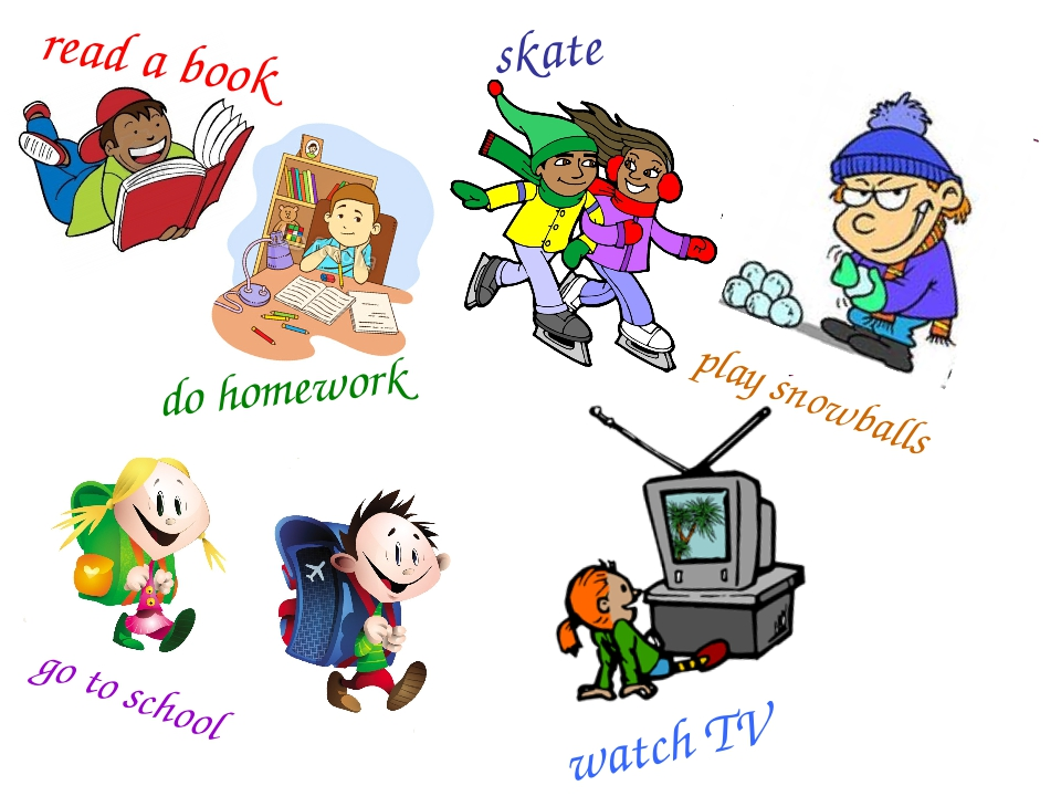 read a book do homework skate go to school play snowballs watch TV
