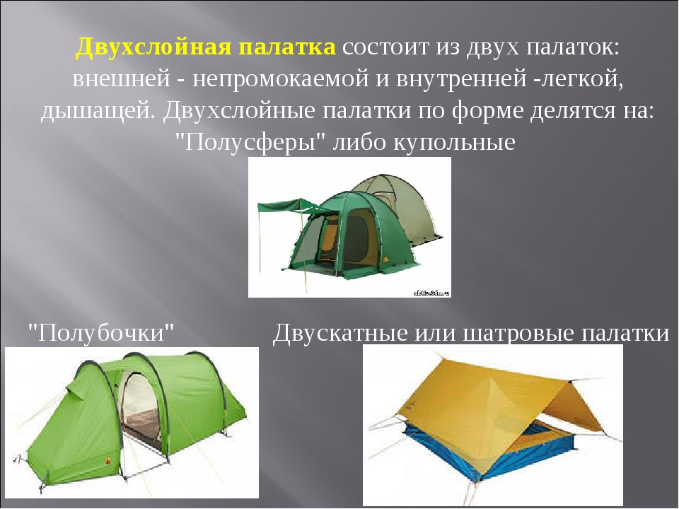 Двухслойная палатка состоит из двух палаток: внешней - непромокаемой и внутре...