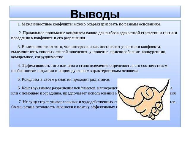 Выводы 1. Межличностные конфликты можно охарактеризовать по разным основаниям...