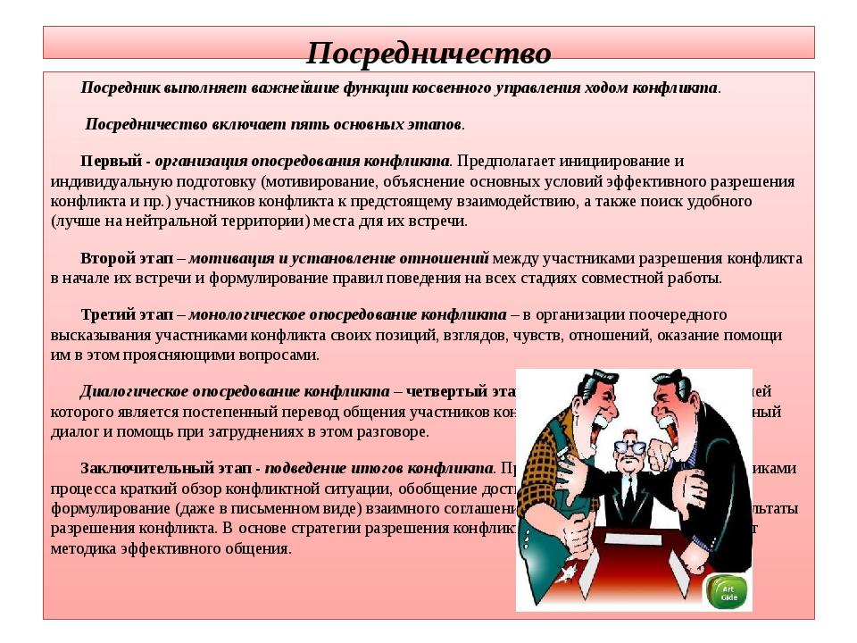 Посредничество Посредник выполняет важнейшие функции косвенного управления хо...