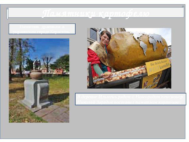 Памятники картофелю Памятник драникам в украинском городе Коростень В деревн...
