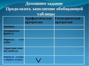 Домашнее задание Продолжить заполнение обобщающей таблицы Арифметическая пр