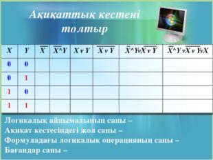 Логикалық айнымалының саны – Ақиқат кестесіндегі жол саны – Формуладағы логик