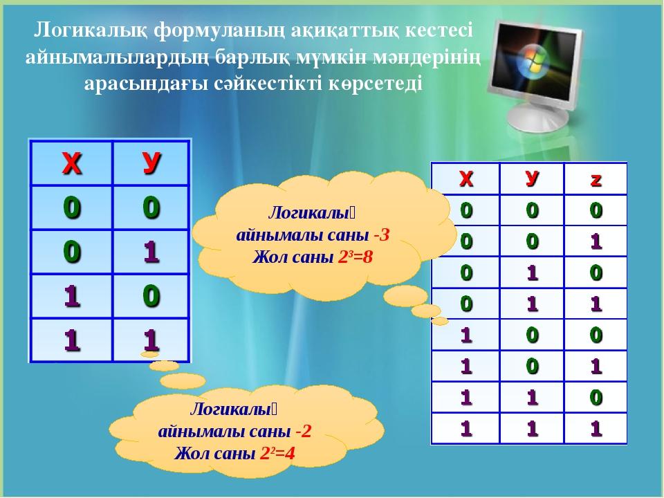 Логикалық айнымалы саны -2 Жол саны 22=4 Логикалық айнымалы саны -3 Жол саны...