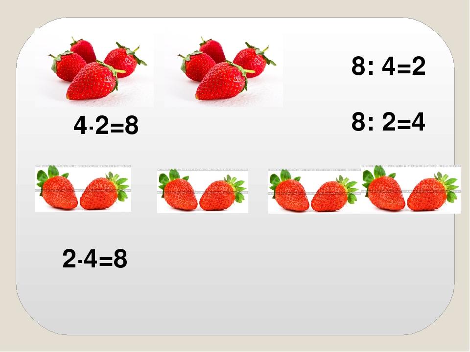 4∙2=8 2∙4=8 8: 2=4 8: 4=2