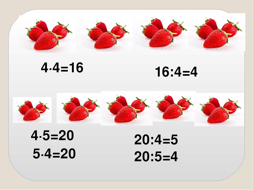 4∙4=16 16:4=4 4∙5=20 5∙4=20 20:4=5 20:5=4