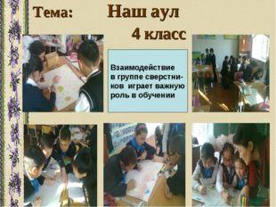 Тема: Наш аул 4 класс Взаимодействие в группе сверстни- ков играет важную рол