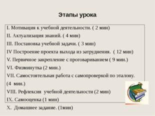 Этапы урока I. Мотивация к учебной деятельности. ( 2 мин) II. Актуализация зн