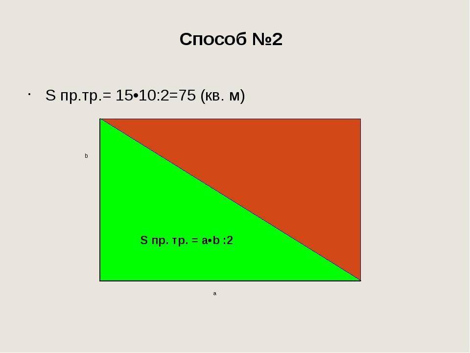 Способы нахождения площади прямоугольного треугольника: S пр. тр.=S▄:2 S пр....