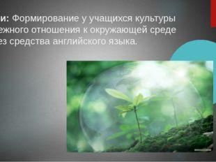 Цели:Формирование у учащихся культуры бережного отношения к окружающей среде