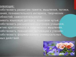 Развивающие: -способствовать развитию памяти, мышления, логики, внимания, по