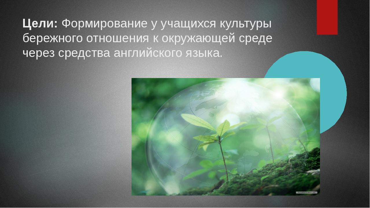 Цели:Формирование у учащихся культуры бережного отношения к окружающей среде...