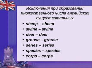 Исключения при образовании множественного числа английских существительных sh