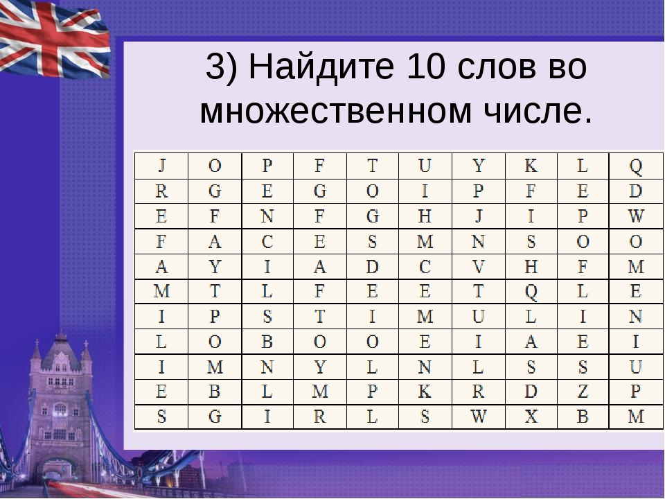 3) Найдите 10 слов во множественном числе.