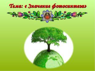 Тема: « Значение фотосинтеза»