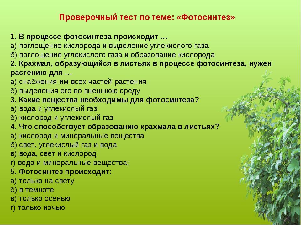 Проверочный тест по теме: «Фотосинтез»  1. В процессе фотосинтеза происходит...