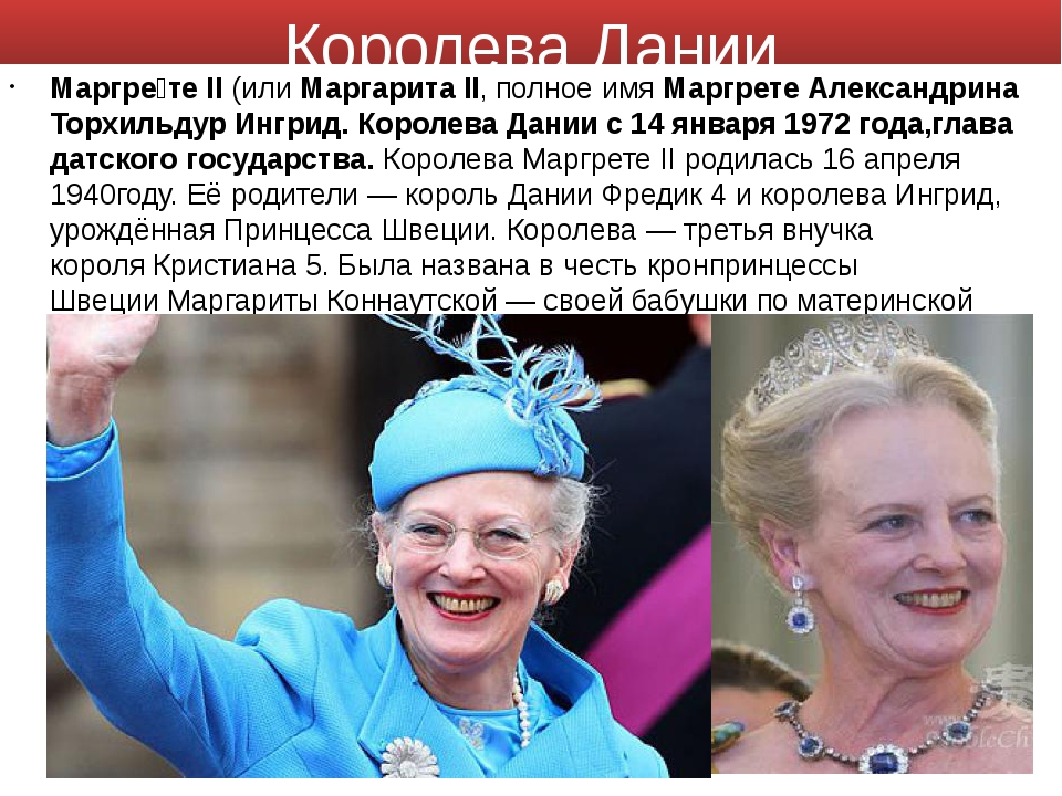 Королева Дании Маргре́те II(илиМаргарита II, полное имяМаргрете Александри...