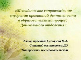 «Методическое сопровождение внедрения проектной деятельности в образовательны