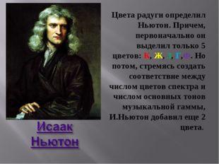 Цвета радуги определил Ньютон. Причем, первоначально он выделил только 5 цвет