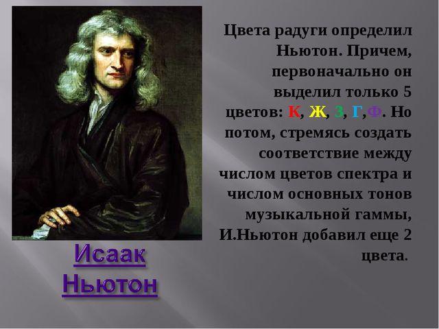 Цвета радуги определил Ньютон. Причем, первоначально он выделил только 5 цвет...