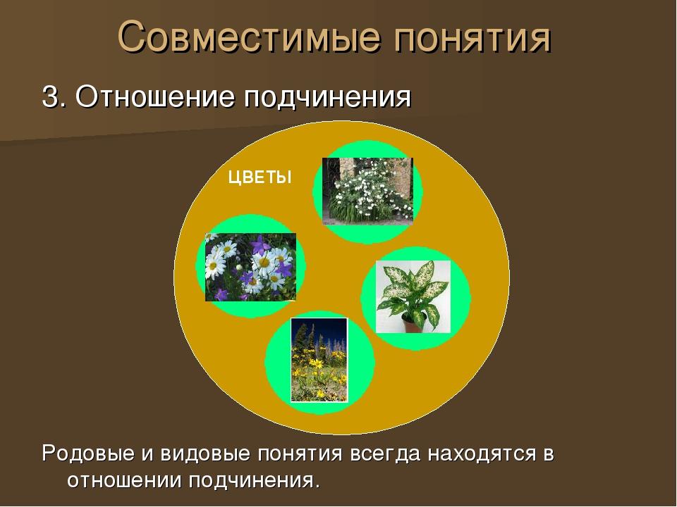 Совместимые понятия 3. Отношение подчинения Родовые и видовые понятия всегда...