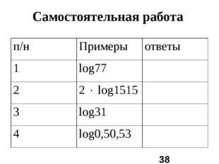 Самостоятельная работа п/н Примеры ответы 1 log77 2 2log1515 3 log31 4 log0,