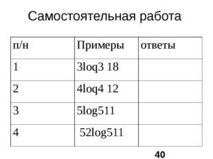 Самостоятельная работа п/н Примеры ответы 1 3loq318 2 4loq412 3 5log511 4 52l